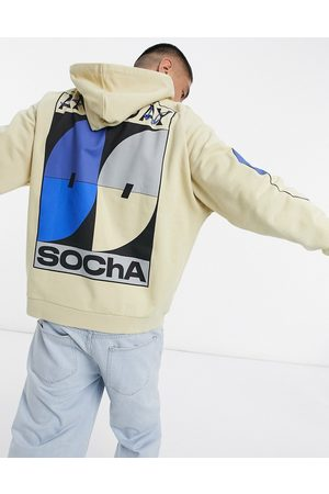 ASOS ASOS Daysocial oversized hoodie in stone with all multi print placement
