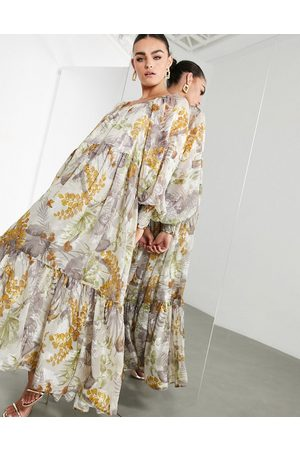 ASOS Oversized maxi dress in floral satin burnout with square neck