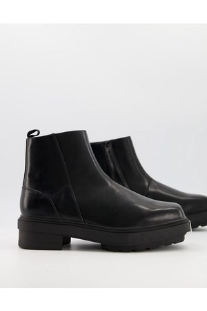 ASOS Chelsea pull on boot with metal toe and chunky sole
