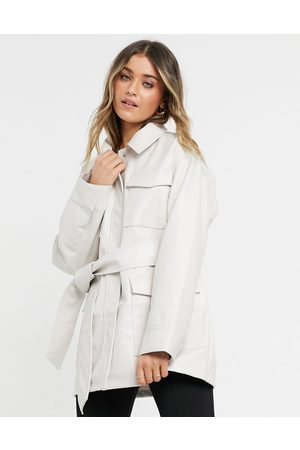 ASOS Oversized leather look jacket with pocket detail in