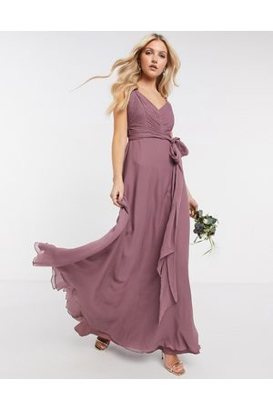 ASOS Women Maxi Dresses - Bridesmaid cami maxi dress with ruched bodice and tie waist in dusty mauve
