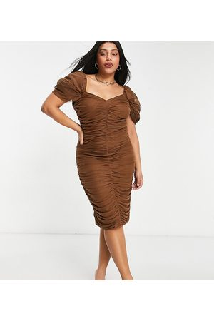 ASOS ASOS DESIGN Curve sweetheart neck line mesh ruched midi dress in chocolate