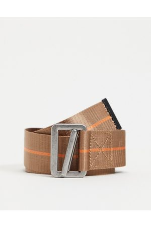 ASOS Long ended belt with with orange detail and caribener detail