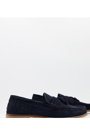 ASOS Wide Fit tassel loafers in suede with natural sole