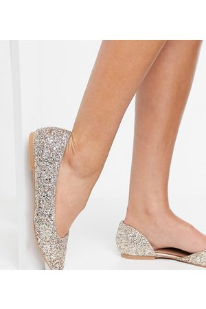ASOS Wide Fit Virtue d'orsay pointed ballet flats in glitter