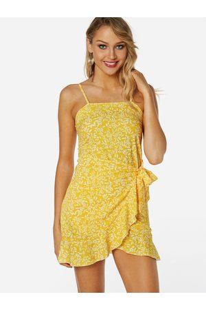 YOINS Random Floral Calico Print Self-tie Design Backless Sleeveless Spaghetti Strap Dress