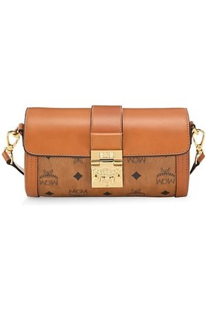 MCM Small Tracy Visetos Leather Barrel Bag