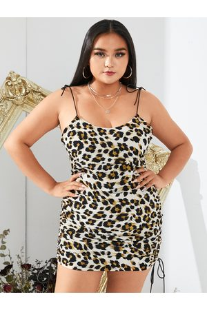 YOINS Plus Size Leopard Drawstring Spaghetti Strap Sleeveless Mini Dress