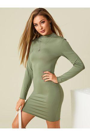 YOINS BASICS Mock Collar Long Sleeves Bodycon Mini Dress