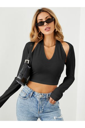 YOINS Cut Out Backless Design Halter Long Sleeves Crop Top