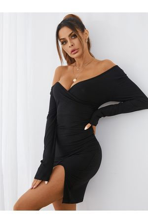 YOINS BASICS Crossed Collar Long Sleeves Bodycon Mini Dress