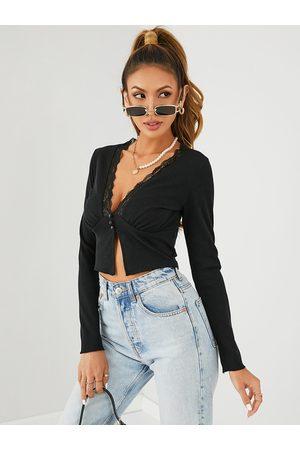 YOINS Button Design Lace Trim Deep V Neck Long Sleeves Crop Top