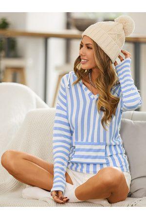 YOINS Striped Pocket Design Long Sleeves Hoodie
