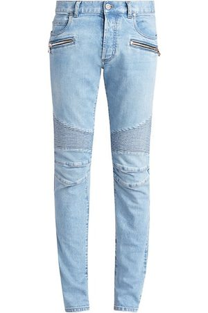 Balmain Ribbed Slim-Fit Moto Jeans