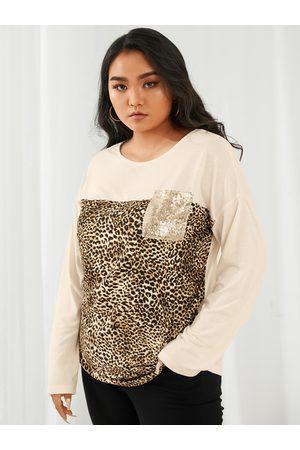 YOINS Plus Size Crew Neck Leopard Pocket Design Sequins Embellished Long Sleeves Tee