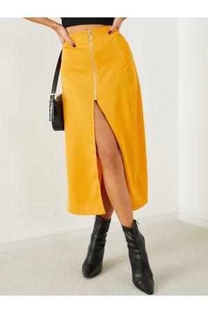 YOINS Zip Front Maxi Skirt
