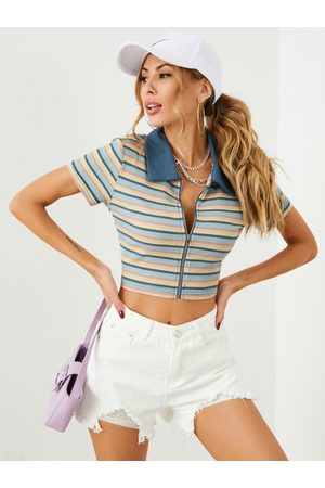 YOINS Colorful Striped Zip Design Lapel Collar Short Sleeves Crop Top
