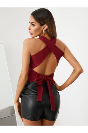 YOINS Backless Criss-cross Tie-up Design Halter Sleeveless Cami