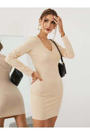 YOINS BASICS V-neck Long Sleeves Bodycon Mini Dress