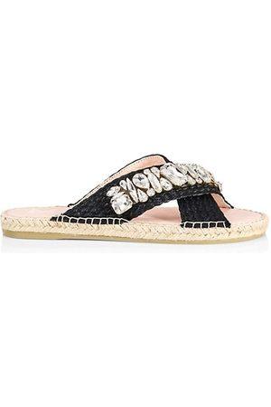 MANEBI Crystals & Raffia Cross Strap Espadrille Slide Sandals