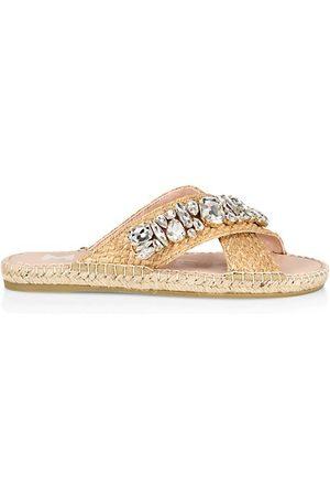 MANEBI Sandals - Ss21 Flat Sandals Raffia+Crystals X Natural W Diamonds Sandals - Espadrillas