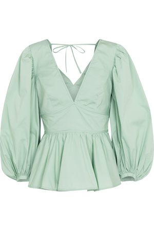 Staud Luna stretch-cotton peplum blouse