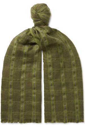 Loro Piana Men Scarves - Checked Linen and Cashmere-Blend Tweed Scarf