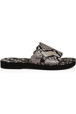 See by Chloé Essie Snakeskin-Embossed Leather Slides