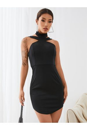 YOINS Choker Neck Halter Mini Bodycon dress