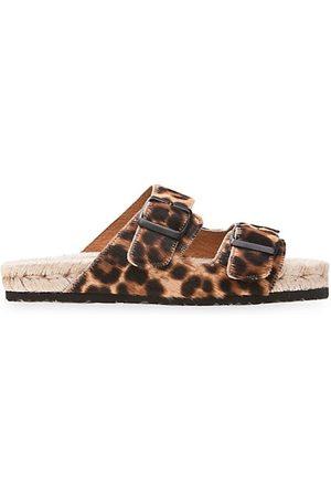 MANEBI Nordic Leopard-Print Calf Hair 2-Band Espadrille Sandals