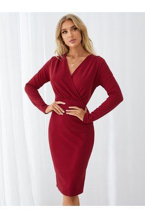 YOINS Split Design Deep V Neck Pleated Dress