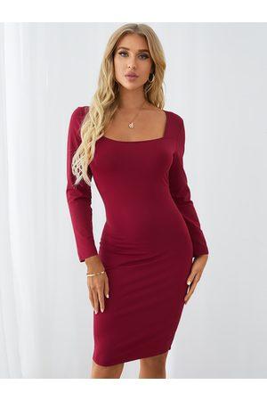 YOINS BASICS Burgundy Square Neck Long Sleeves Bodycon Midi Dress