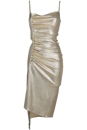 Paco rabanne Women Evening Dresses - Metallic pleated dress with side-button ruched detail
