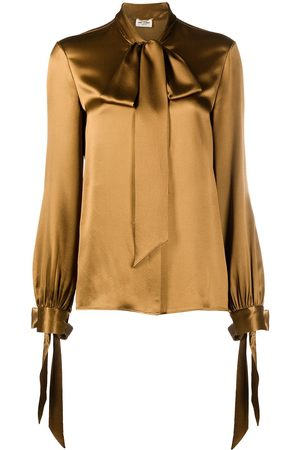 Saint Laurent Women Blouses - Long-sleeve pussy-bow blouse