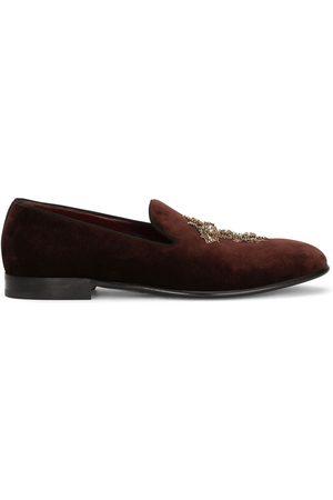 Dolce & Gabbana Men Slippers - Cross embellished velvet slippers