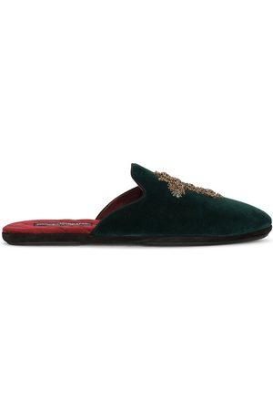 Dolce & Gabbana Men Slippers - Cross-embellished velvet slippers