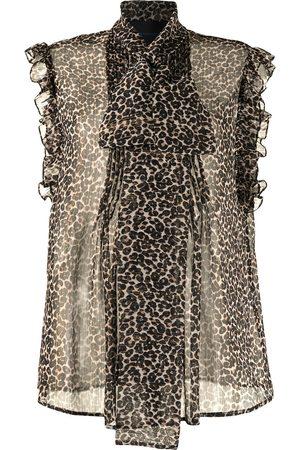Costarellos Justina leopard-print semi-sheer blouse