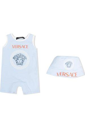 VERSACE Logo-print sleeveless romper