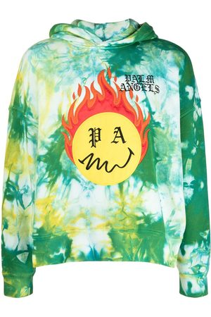 Palm Angels TIE DYE BURNING HEAD HOODY FOREST