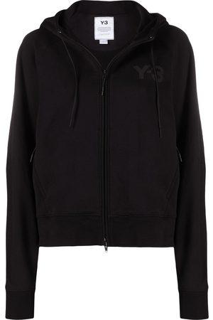 Y-3 Logo-print zip-up hooded jacket