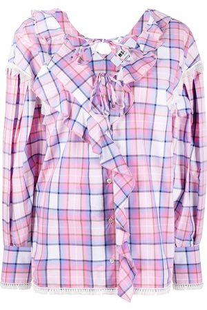Msgm Ruffle-trim checked blouse
