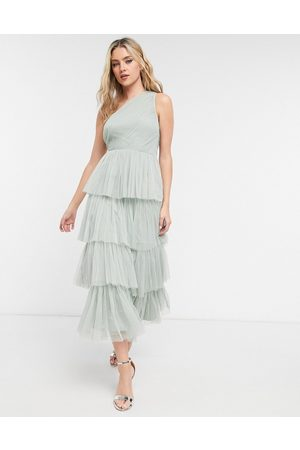 ANAYA Women Party Dresses - With Love Bridesmaid tulle one shoulder ruffle tiered midaxi dress in sage