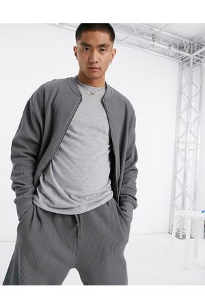 Reclaimed Vintage Men Inspired waffle zip through sweat in charcoal
