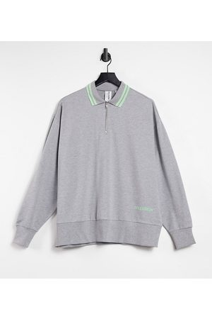 COLLUSION Zip through polo sweat with tipped collar in marl