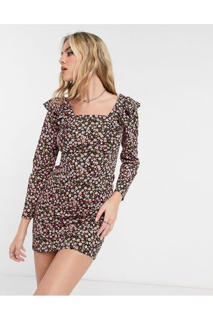ASOS Women Printed Dresses - Mini long sleeve with frill detail dress in black and floral