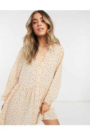 Monki Women Printed Dresses - Torborg mini smock dress with button through detail in floral print