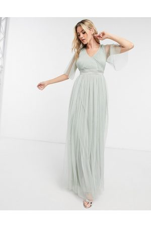 ANAYA With Love Bridesmaid tulle flutter sleeve maxi dress in sage