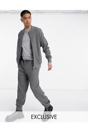 Reclaimed Vintage Inspired waffle jogger in charcoal