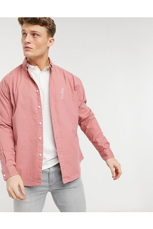 ASOS 90s oversized oxford shirt with embroidery chest logo in raspberry