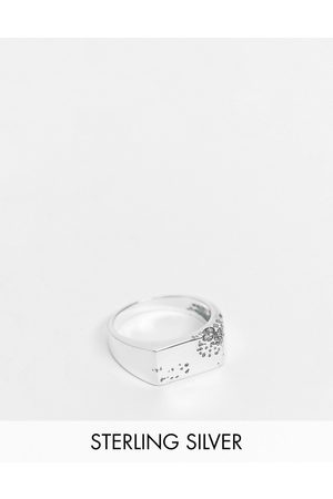 ASOS Sterling signet ring with eroded design in burnished
